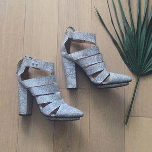 Jeffrey Campbell iridescent snakeskin heels